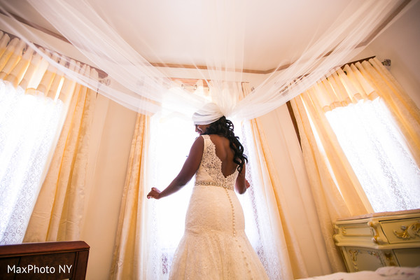 White wedding gown veil in Richmond Hill, NY Indian Wedding by MaxPhoto NY