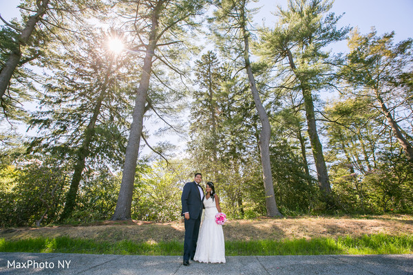 First look portraits in Richmond Hill, NY Indian Wedding by MaxPhoto NY