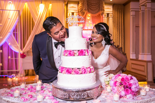 Reception portraits with wedding cake in Richmond Hill, NY Indian Wedding by MaxPhoto NY