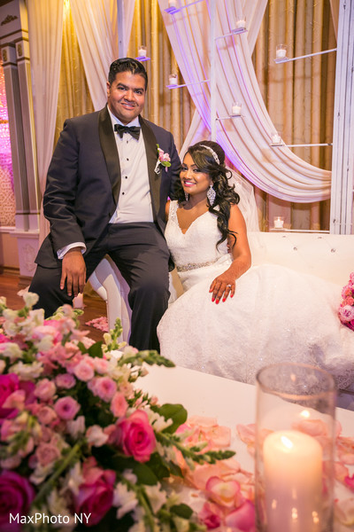 Indian wedding reception portrait in Richmond Hill, NY Indian Wedding by MaxPhoto NY
