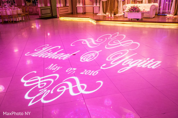 Dance floor gobo in Richmond Hill, NY Indian Wedding by MaxPhoto NY