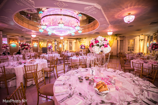 Centerpieces in Richmond Hill, NY Indian Wedding by MaxPhoto NY