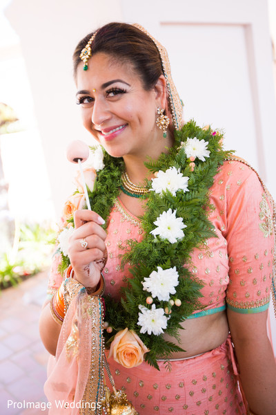Beautiful Bride Smiling in Santa Barbara, CA Indian Wedding by ProImage Weddings
