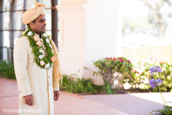 Happy Groom ready for the Wedding Ceremony in Santa Barbara, CA Indian Wedding by ProImage Weddings