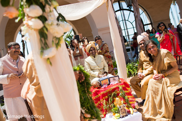 Lovely white and peach indian wedding stage in Santa Barbara, CA Indian Wedding by ProImage Weddings