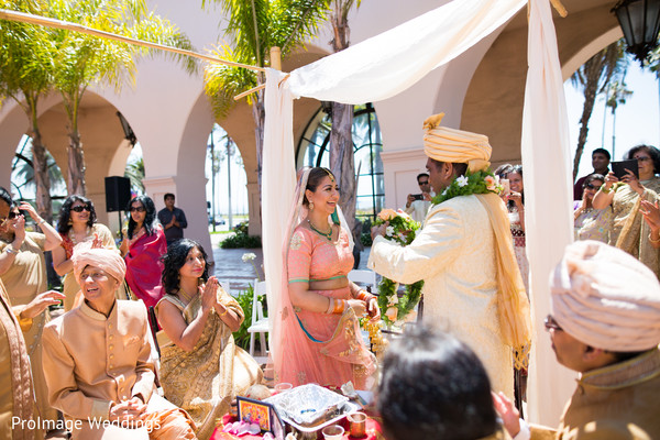 Indian couple during their wedding ceremony in Santa Barbara, CA Indian Wedding by ProImage Weddings