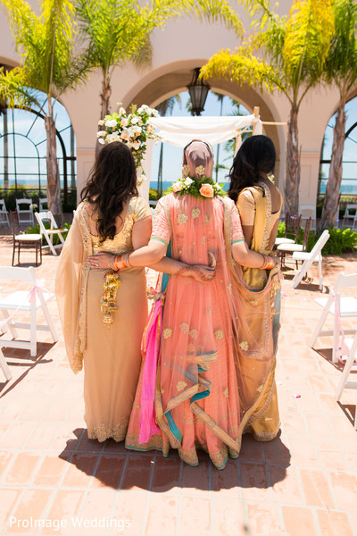 Lovely shot of Maharani and bridesmaids fashion in Santa Barbara, CA Indian Wedding by ProImage Weddings