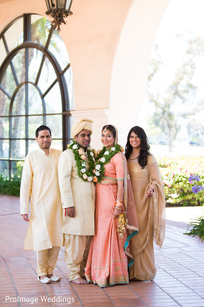 Indian couple with friends in Santa Barbara, CA Indian Wedding by ProImage Weddings