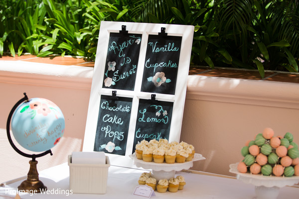 Lovely cake & treats table at indian wedding ceremony in Santa Barbara, CA Indian Wedding by ProImage Weddings
