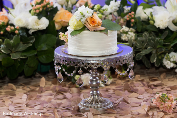 Love the details in this white cake topper in Santa Barbara, CA Indian Wedding by ProImage Weddings