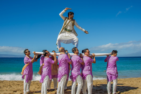 Indian Groom and Groomsmen at the Sheraton Maui Resort & Spa in Starwood Hawaii Destination Indian Weddings