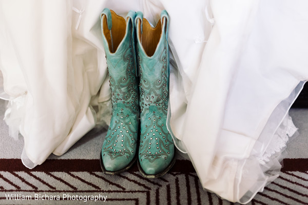 Bridal Boots in Dallas, TX Indian Fusion Wedding by William Bichara Photography