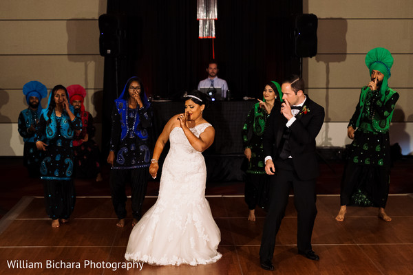 Bride and Groom with Bhangra Team in Dallas, TX Indian Fusion Wedding by William Bichara Photography