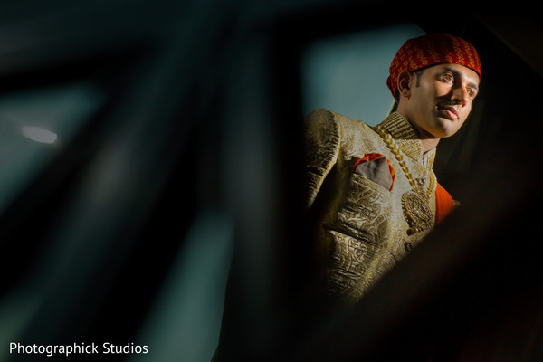 Beautiful portrait of indian groom ready for his wedding ceremony. in Alexandria, VA Indian Wedding by Photographick Studios