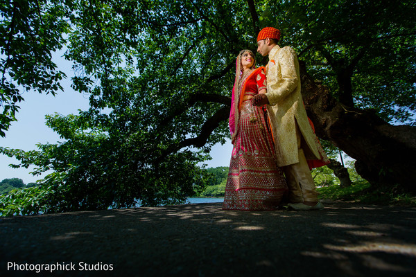 Outdoor indian bride and groom photo session. in Alexandria, VA Indian Wedding by Photographick Studios