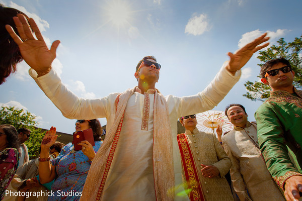 Indian groom's baraat. in Alexandria, VA Indian Wedding by Photographick Studios
