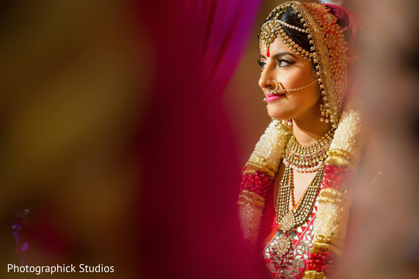 Stunning bride captured during her wedding ceremony.