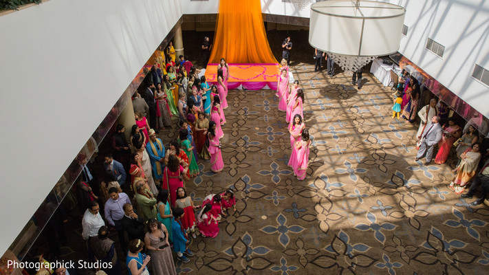 Bridesmaids dancing. in Alexandria, VA Indian Wedding by Photographick Studios