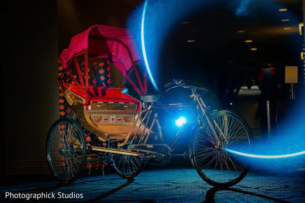 Decorated Rickshaw in Alexandria, VA Indian Wedding by Photographick Studios