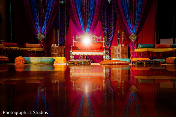 Colorful garba stage. in Alexandria, VA Indian Wedding by Photographick Studios