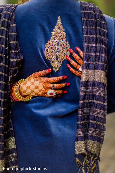 Stunning image of bride's mehndi art in Alexandria, VA Indian Wedding by Photographick Studios