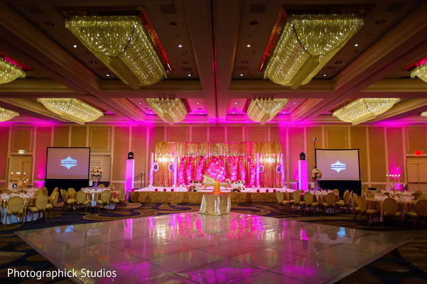 Hot pink lights for indian wedding reception. in Alexandria, VA Indian Wedding by Photographick Studios