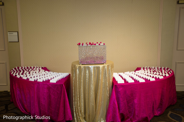 Original hot pink and gold stationary tables. in Alexandria, VA Indian Wedding by Photographick Studios