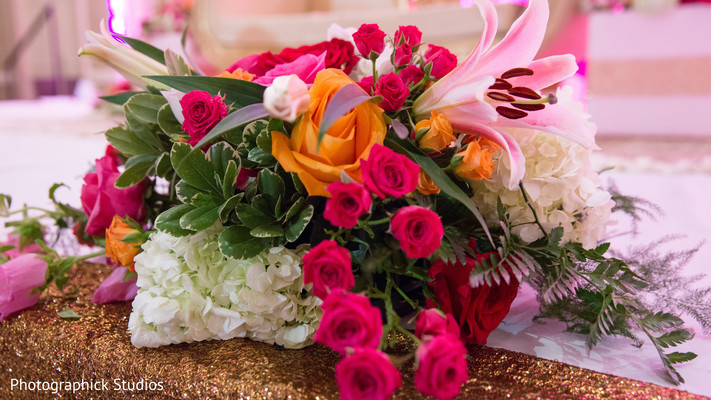 Indian wedding reception flower decoration. in Alexandria, VA Indian Wedding by Photographick Studios