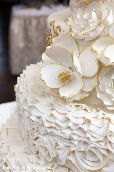 Elegant ruffled cake in White Castle, LA Fusion Wedding by Daniel Bray Photography