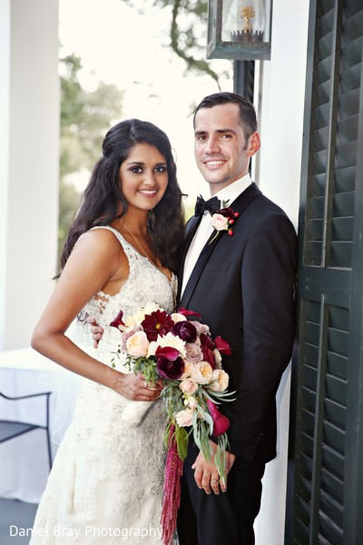 First look portrait in White Castle, LA Fusion Wedding by Daniel Bray Photography