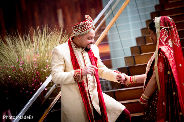 Bride and Groom Portrait Outdoors in New Brunswick, NJ Indian Fusion Wedding by PhotosMadeEz