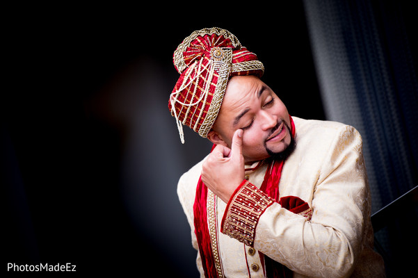 Groom Portrait in New Brunswick, NJ Indian Fusion Wedding by PhotosMadeEz