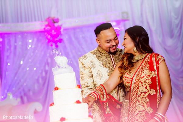 Cutting Cake in New Brunswick, NJ Indian Fusion Wedding by PhotosMadeEz