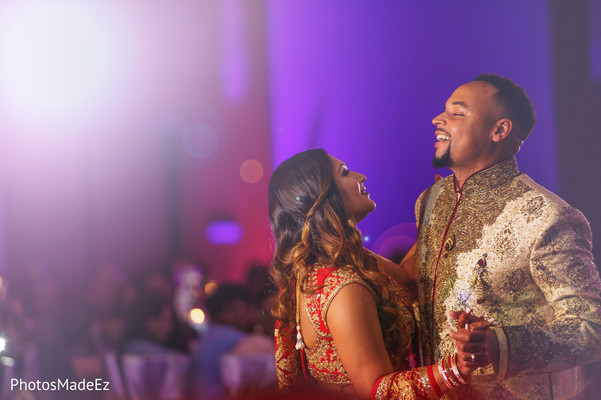 Bride and Groom Reception Portrait in New Brunswick, NJ Indian Fusion Wedding by PhotosMadeEz