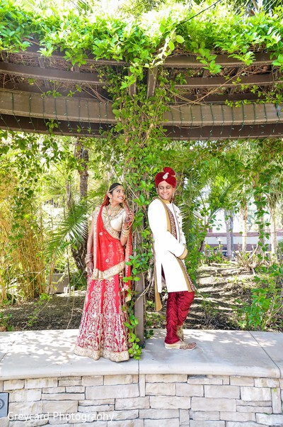Bride and Groom Fusion Wedding Day Portrait in Azusa, CA Indian Fusion Wedding by Greycard Photography