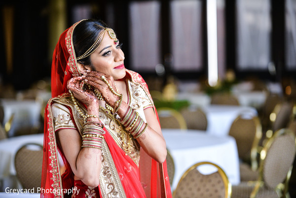 Indian Bride Portrait in Azusa, CA Indian Fusion Wedding by Greycard Photography