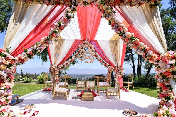Outdoor Indian Wedding Mandap in Azusa, CA Indian Fusion Wedding by Greycard Photography