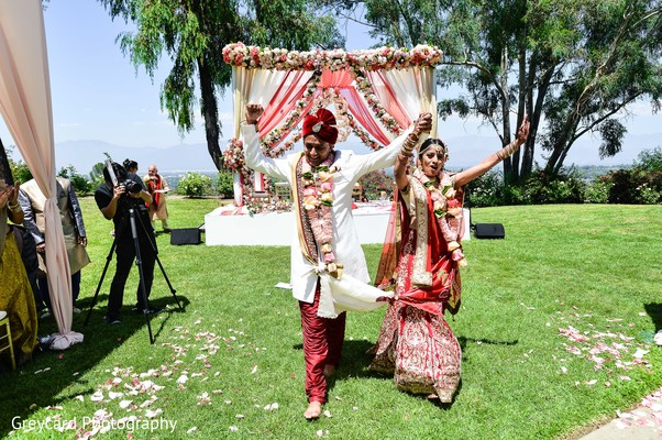 Indian Bride and Groom Portrait in Azusa, CA Indian Fusion Wedding by Greycard Photography