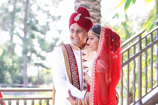 Bride and Groom Fusion Wedding Day Portrait in Azusa, CA Indian Fusion Wedding by Greycard Photography