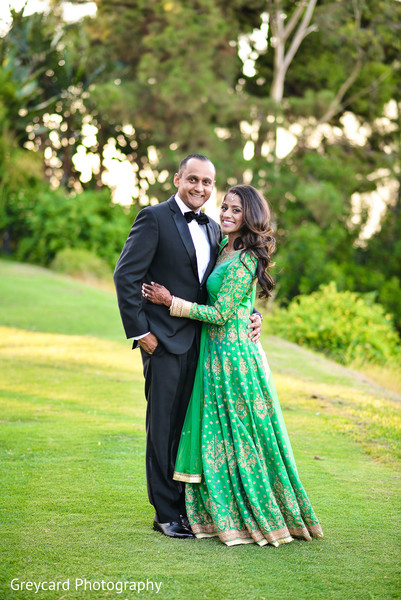 Bride and Groom Reception Portrait in Azusa, CA Indian Fusion Wedding by Greycard Photography