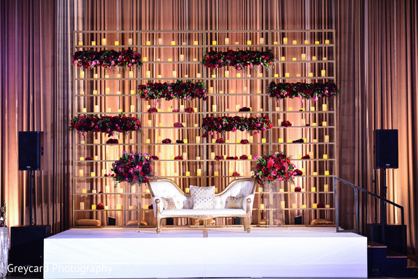 Indian Wedding Reception Sweetheart Stage in Azusa, CA Indian Fusion Wedding by Greycard Photography