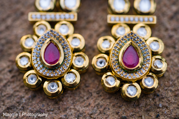 Exquisite gold and diamond indian bridal earrings. in Bethlehem, Pennsylvania Indian Wedding by Maggie J Photography