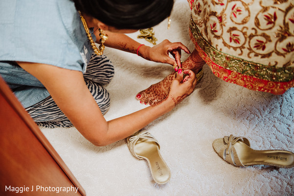 See this indian bride being prepared from head to toe. in Bethlehem, Pennsylvania Indian Wedding by Maggie J Photography