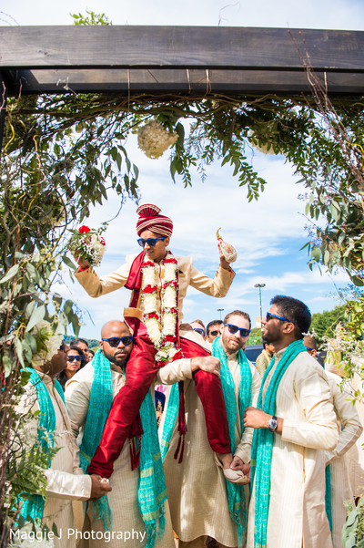 Indian groom baraat entrance. in Bethlehem, Pennsylvania Indian Wedding by Maggie J Photography