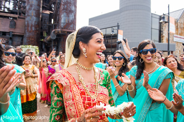 Indian bride ready to welcome his groom. in Bethlehem, Pennsylvania Indian Wedding by Maggie J Photography