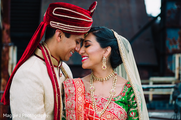 Indian bride and groom portrait. in Bethlehem, Pennsylvania Indian Wedding by Maggie J Photography