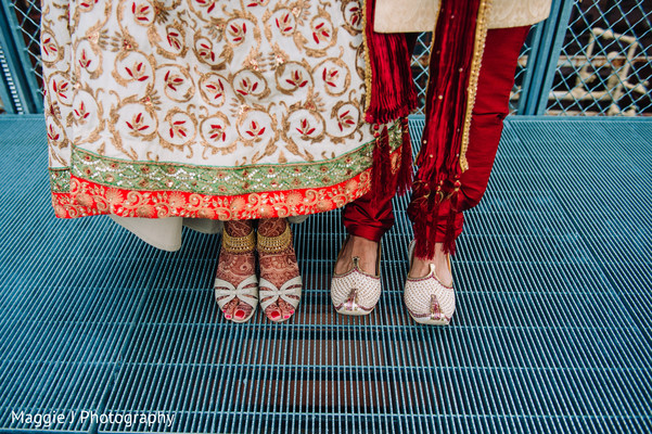 Original shot of indian bride and groom shoes. in Bethlehem, Pennsylvania Indian Wedding by Maggie J Photography