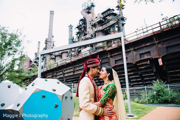 Indian bride and groom at an old factory venue. in Bethlehem, Pennsylvania Indian Wedding by Maggie J Photography