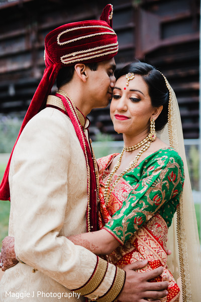 Indian bride and groom wedding portrait. in Bethlehem, Pennsylvania Indian Wedding by Maggie J Photography