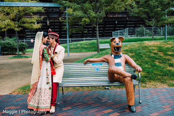 Funny portrait of indian bride and groom. in Bethlehem, Pennsylvania Indian Wedding by Maggie J Photography